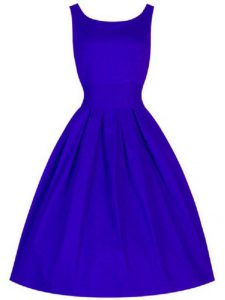 Blue Taffeta Lace Up Scoop Sleeveless Knee Length Court Dresses for Sweet 16 Ruching