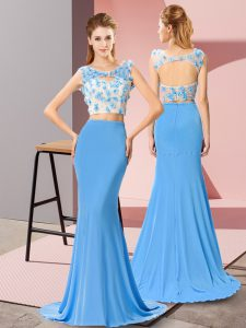 Backless Prom Dress Baby Blue for Prom and Beach with Beading and Hand Made Flower Brush Train