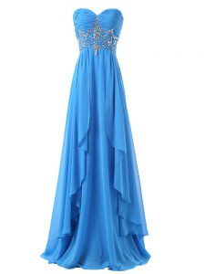 Baby Blue Chiffon Lace Up Prom Party Dress Sleeveless Brush Train Beading and Ruching