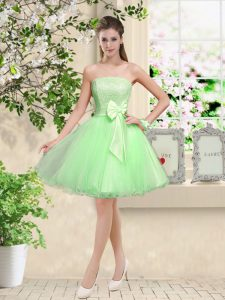 Popular A-line Off The Shoulder Sleeveless Organza Knee Length Lace Up Lace and Belt Damas Dress