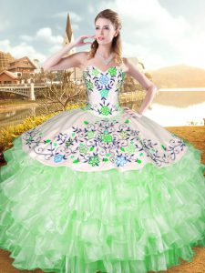 Fashion Lace Up Quinceanera Gowns Embroidery and Ruffled Layers Sleeveless Floor Length