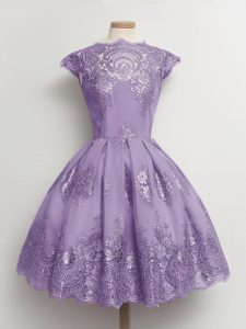 Luxury Lavender Cap Sleeves Lace Knee Length Dama Dress