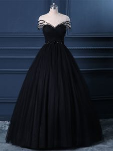 Clearance Tulle Scoop Short Sleeves Side Zipper Beading Prom Dresses in Black
