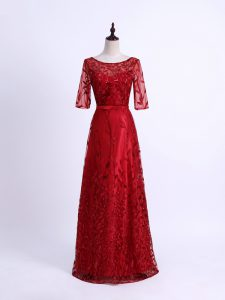 Lace Dress for Prom Red Lace Up Half Sleeves