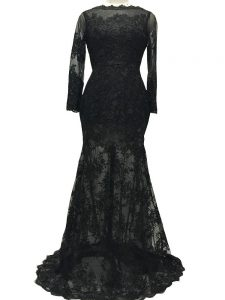 Brush Train Mermaid Prom Evening Gown Black Bateau Lace Long Sleeves Backless