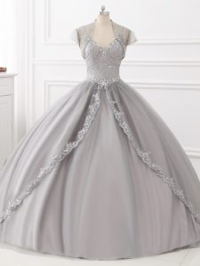 Dazzling Grey Ball Gowns Beading and Appliques Sweet 16 Quinceanera Dress Lace Up Tulle Sleeveless Floor Length