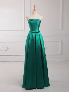 Pretty Empire Court Dresses for Sweet 16 Dark Green Strapless Satin Sleeveless Floor Length Lace Up