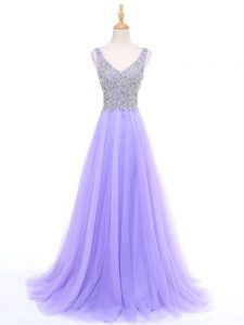 Floor Length Lavender Evening Dress Tulle Sleeveless Beading