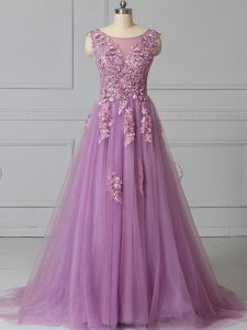 Modern Lace Up Dress for Prom Lilac for Prom and Party with Appliques and Pattern Brush Train