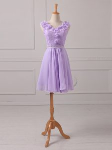 Suitable Lavender Dama Dress for Quinceanera Prom and Party and Wedding Party with Lace and Appliques V-neck Sleeveless Lace Up