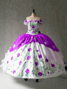 Edgy Off The Shoulder Cap Sleeves Lace Up Quinceanera Dresses White And Purple Organza and Taffeta