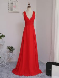 Custom Fit Red V-neck Zipper Ruching Quinceanera Dama Dress Sleeveless