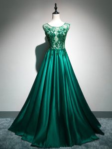 Dark Green Prom Gown Elastic Woven Satin Brush Train Sleeveless Beading and Lace and Appliques and Embroidery