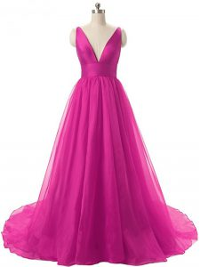 Fuchsia Sleeveless Brush Train Ruching