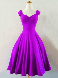 Spectacular Taffeta Sleeveless Knee Length Quinceanera Court of Honor Dress and Ruching