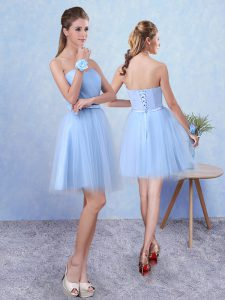 Blue Sleeveless Tulle Lace Up Damas Dress for Prom and Party