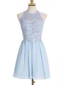 Adorable Light Blue Lace Up Halter Top Appliques Dama Dress for Quinceanera Chiffon Sleeveless