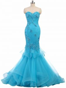 Spectacular Sleeveless Brush Train Appliques Lace Up Homecoming Dress