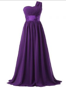One Shoulder Sleeveless Chiffon Court Dresses for Sweet 16 Ruching Lace Up