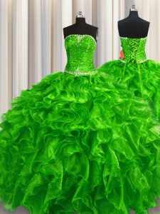 Colorful Green Ball Gowns Strapless Sleeveless Organza Floor Length Lace Up Beading and Ruffles Sweet 16 Dress
