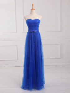 Sleeveless Floor Length Belt Lace Up Court Dresses for Sweet 16 with Royal Blue