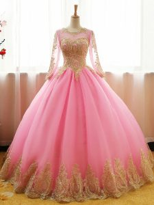 Most Popular Pink Ball Gowns Appliques Sweet 16 Dress Lace Up Organza Long Sleeves Floor Length