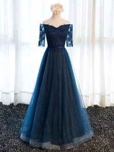 Navy Blue A-line Beading and Lace and Appliques Prom Gown Lace Up Tulle Half Sleeves Floor Length