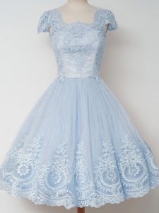 Low Price Cap Sleeves Tulle Knee Length Zipper Damas Dress in Light Blue with Lace