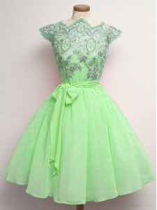 Customized A-line Chiffon Scalloped Cap Sleeves Lace and Belt Knee Length Lace Up Quinceanera Dama Dress
