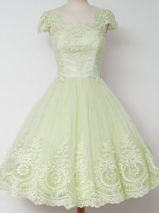 Fantastic Yellow Green Tulle Zipper Quinceanera Court of Honor Dress Cap Sleeves Knee Length Lace