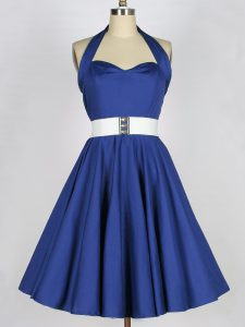 Sleeveless Taffeta Knee Length Lace Up Quinceanera Dama Dress in Blue with Belt
