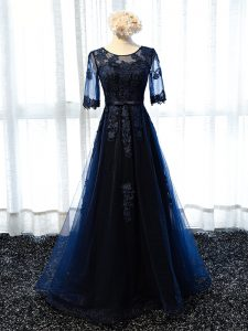 Scoop Half Sleeves Lace Up Navy Blue Tulle