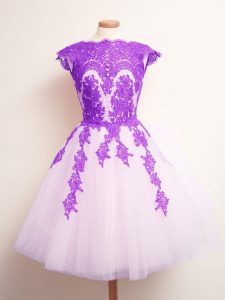 Admirable Multi-color A-line Appliques Quinceanera Court of Honor Dress Lace Up Tulle Sleeveless Mini Length