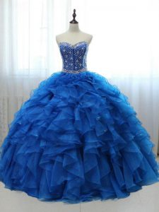 Graceful Sleeveless Floor Length Beading and Ruffles Lace Up Quinceanera Dress with Royal Blue