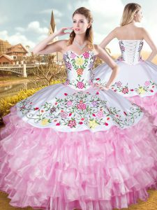 Rose Pink Ball Gowns Embroidery and Ruffled Layers 15th Birthday Dress Lace Up Organza and Taffeta Sleeveless Floor Length