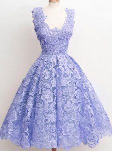 Super Lavender A-line Lace Quinceanera Dama Dress Zipper Lace Sleeveless Knee Length