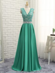 Flare V-neck Sleeveless Prom Dresses Floor Length Lace and Appliques Green Elastic Woven Satin