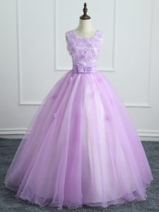 Artistic Organza Scoop Sleeveless Lace Up Lace and Appliques and Bowknot Vestidos de Quinceanera in Lavender