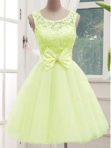 On Sale Yellow Green Vestidos de Damas Prom and Party and Wedding Party with Lace and Bowknot Scoop Sleeveless Lace Up