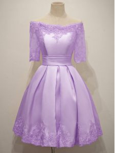 Edgy Lavender Short Sleeves Taffeta Lace Up Dama Dress for Quinceanera for Prom and Party and Wedding Party