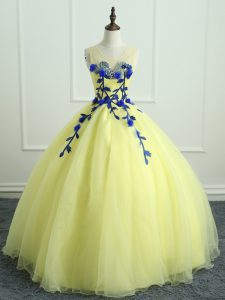 Trendy Ball Gowns Quinceanera Dress Light Yellow Scoop Organza Sleeveless Floor Length Lace Up