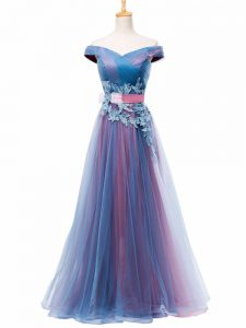 New Arrival Sleeveless Tulle Floor Length Lace Up Prom Dress in Multi-color with Appliques and Ruching and Belt