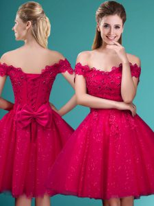 Red Cap Sleeves Tulle Lace Up Dama Dress for Prom and Party