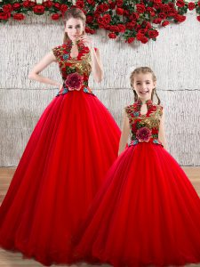 Popular Ball Gowns 15 Quinceanera Dress Red High-neck Organza Sleeveless Floor Length Lace Up