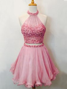 Pink Lace Up Halter Top Beading Vestidos de Damas Organza Sleeveless