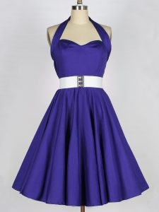 Purple Sleeveless Taffeta Lace Up Damas Dress for Prom and Party and Wedding Party