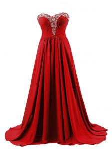 Red Prom Dress Elastic Woven Satin Brush Train Sleeveless Beading