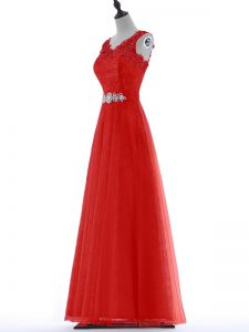 Captivating Red V-neck Zipper Beading and Lace Prom Gown Sleeveless