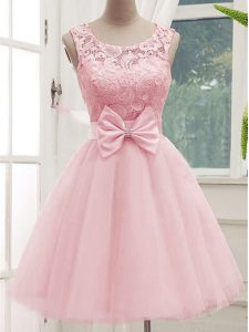Stunning Scoop Sleeveless Damas Dress Knee Length Lace and Bowknot Baby Pink Tulle