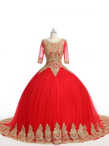Red Quinceanera Dress Military Ball and Sweet 16 and Quinceanera with Lace and Appliques Scoop Half Sleeves Brush Train Zipper
